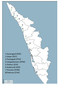 Figure 1: Map of Kerala showing the sampling sites of mangrove sediment