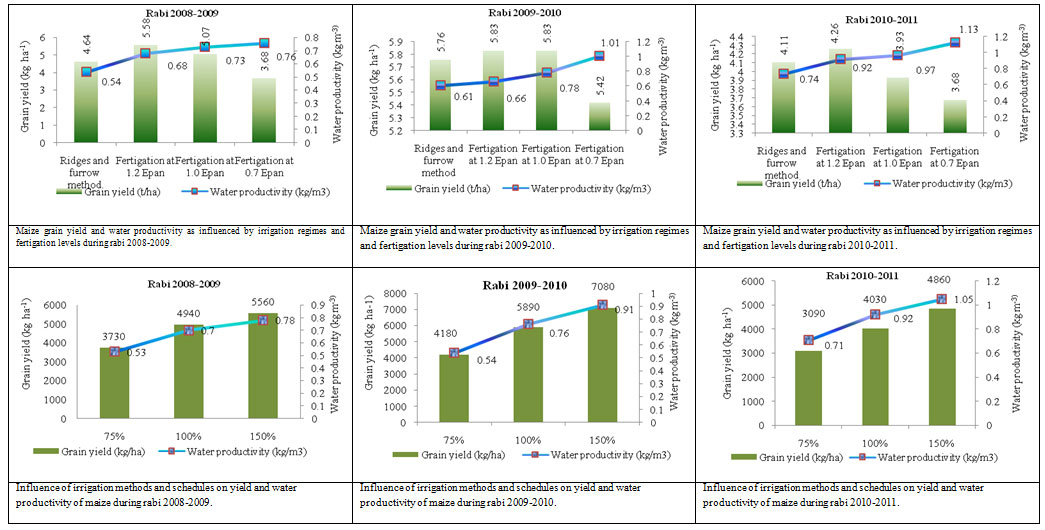 Fig.1 Pooled grain yield and water productivity as influenced by irrigation and fertilizer levels