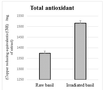 Figure 1: Total antioxidants in raw and irradiated basil