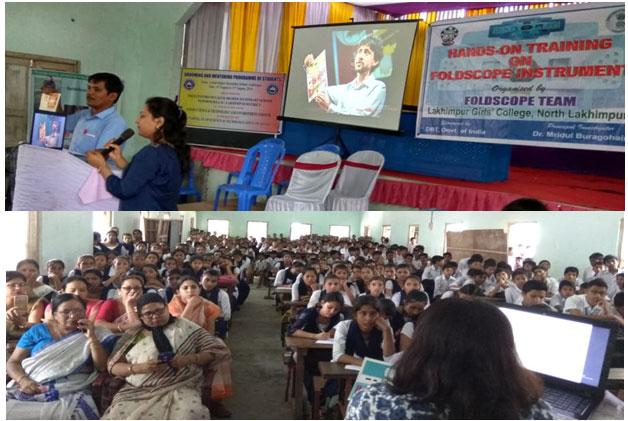 Fig.3c: Workshop on handling of foldscope in Laluk H.S. School, Laluk