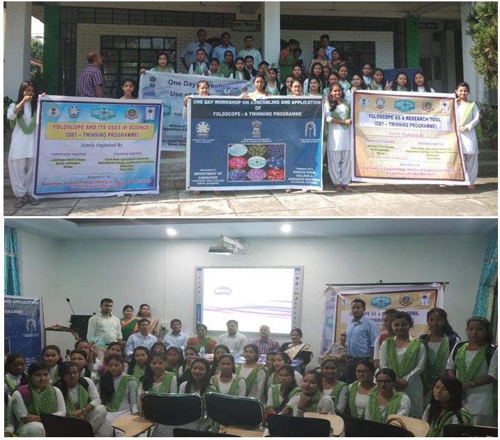 Fig.3e: Workshop on handling of foldscope in Lakhimpur Girls' College, North Lakhimpur