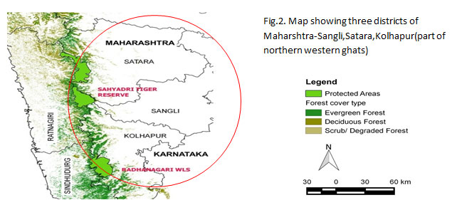 Map showing three districts of Maharshtra-Sangli,Satara,Kolhapur(part of northern western ghats)